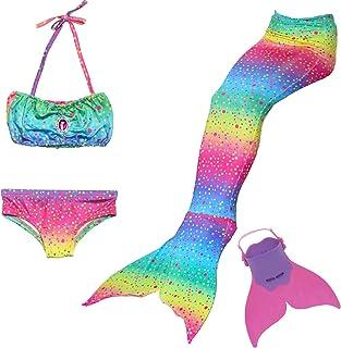 comprar comparacion Cola de Sirena para Natación Traje de Baño 4pcs Mermaid Bikini con Monofín Establece para Niña Disfraz de Sirena Princesa ...