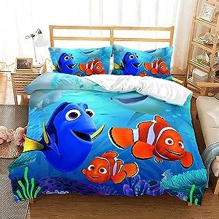 JXSMYT Zestaw pościeli dla dzieci, zwierzęta morskie, ryby, koralowiec poszwa na kołdrę 135 x 200 cm + poszewka na poduszk...