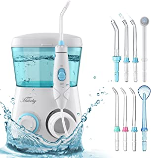 HAIRBY Dental Water Flosser, Dental Oral Irrigator, Waterproof Leakproof, 8 Interchangeable Water Jet Tips, 10 Adjustable Water Pressure, 600 ML Capacity, for Travel and Family Use