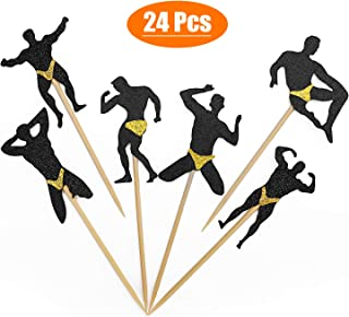 Male Dancers Strippers Cupcake Toppers, Bachelorette Party Cupcake Picks for Bachelorette Party Bridal Shower Hen Party Decoration 6 Styles 24 Pcs