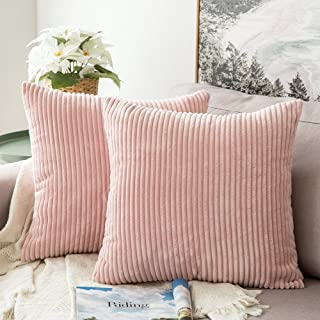 (Striped Pink) - Pack of 2,Miulee Corduroy Soft Soild Decorative Square Throw Pillow Covers Set Cushion Cases PillowCases ...