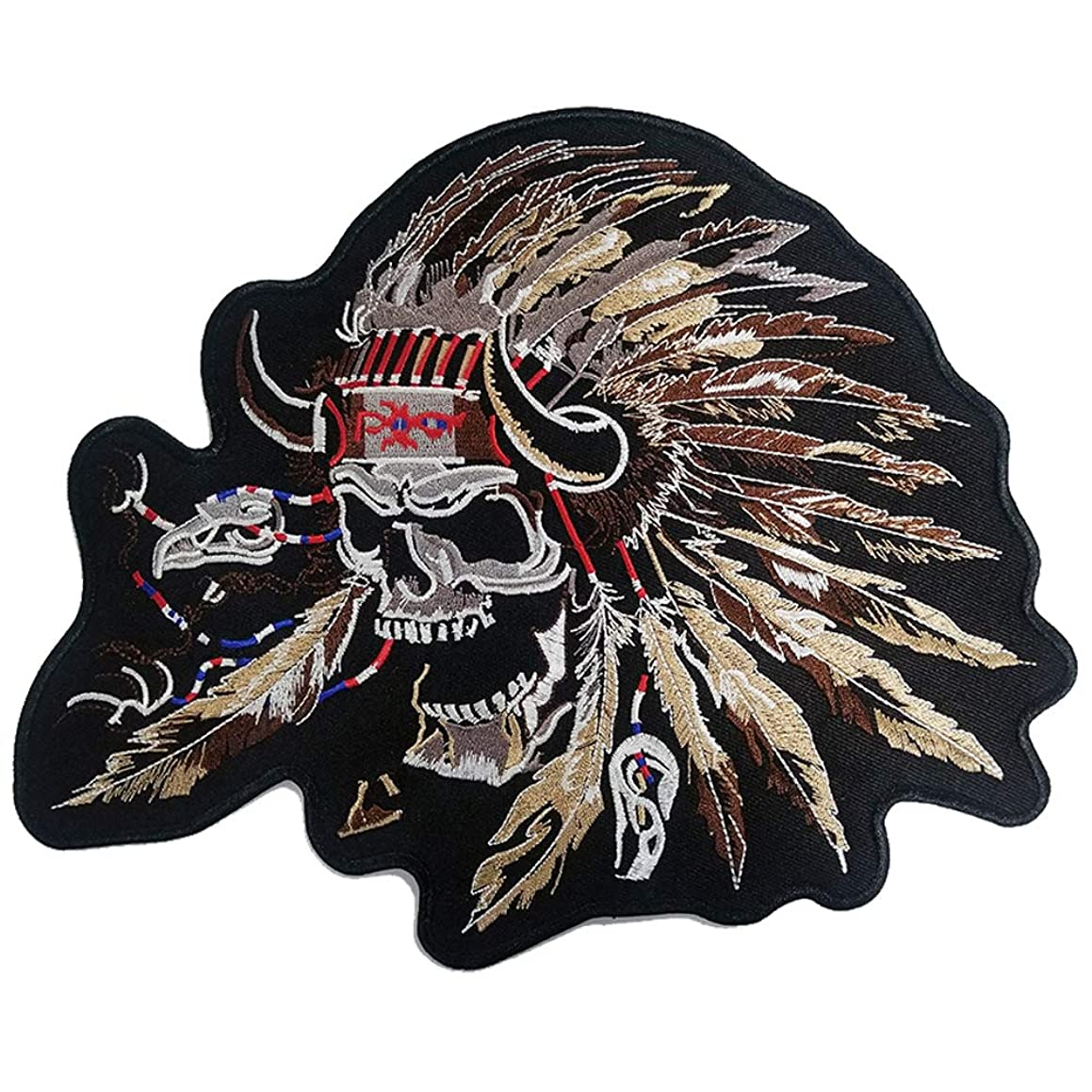 Indian Lady Rider Skull Patch Custom New Embroidery Iron On Patches for Clothing Jacket Hippie t-Shirt (25CM)