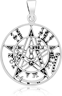 925 Sterling Silver Tetragrammaton Ceremonial Magic Seal of Solomon Cutout Pendant