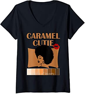 Womens Caramel Cutie Natural Fro Shades of Black Color Palette V-Neck T-Shirt