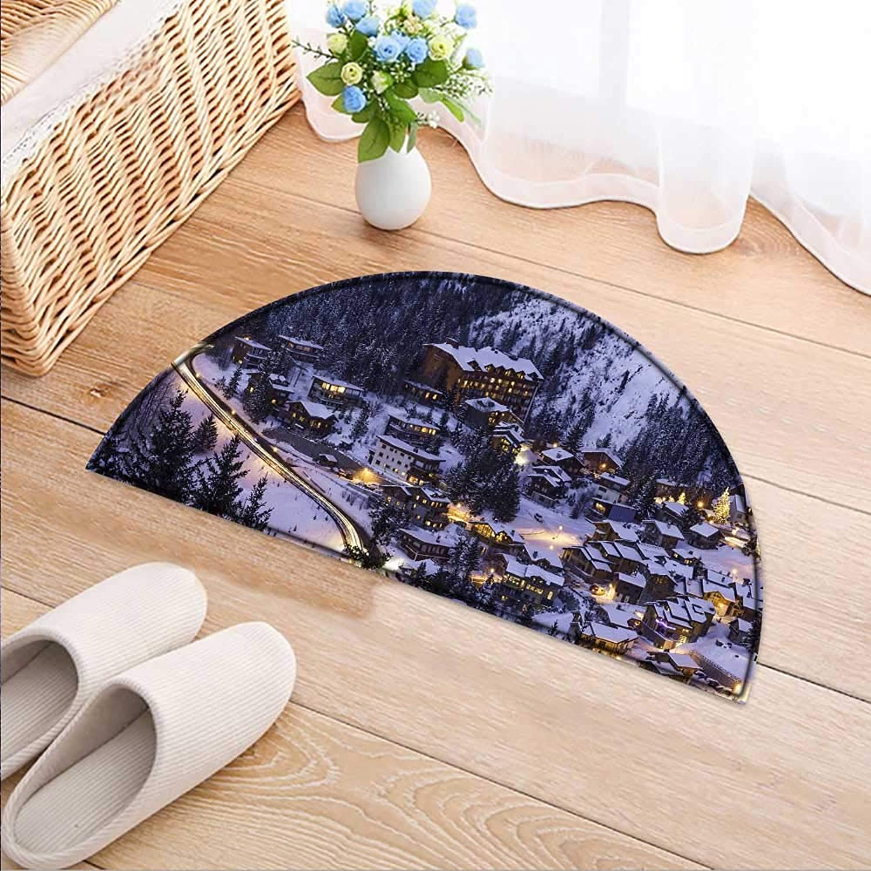 Entrance Hall Carpet A Fairy Tale Village Non Slip Rug W47 x H32 INCH