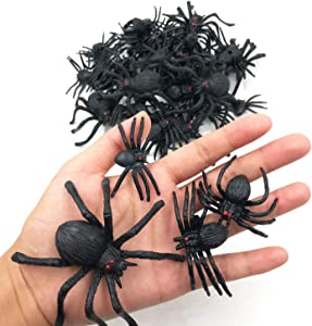 kockuu 46pcs Realistic Plastic Spider Toys Fake Spider Prank Prop Joke Spiders and Spider Rings for Halloween Party Decorations Gift Party Favors Trick Toys Kids Toddlers