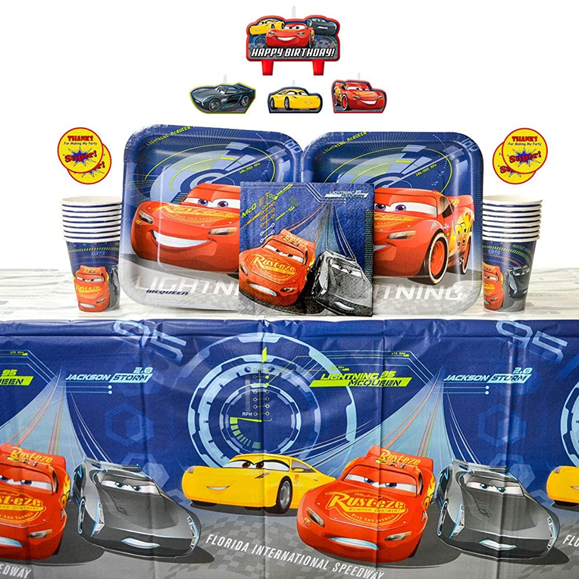 Cars 3 Party Supplies Pack for 16 Guests - Stickers, Candles, Dinner Plates, Luncheon Napkins, Cups, and Table Cover