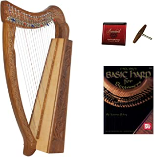 Roosebeck 19-String Pixie Harp w/Chelby Levers + Learn to Play Book + Extra Strings