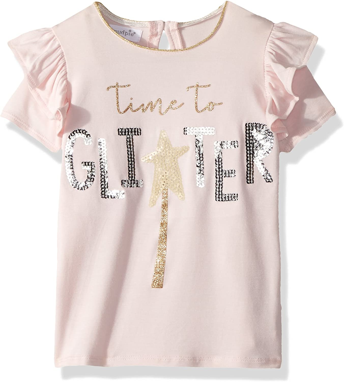 Mud Pie Baby Girls Glitter Sequin Flutter Sleeve T-Shirt