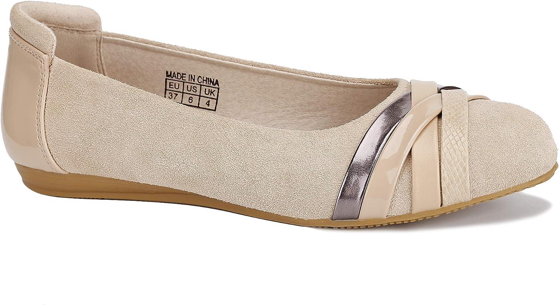 MaxMuxun Women Shoes Round Toe Slip On Ballet Flats