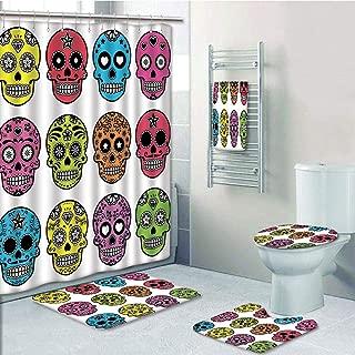 Bathroom 5 Piece Set Shower Curtain 3D Print Customized,Skull,Ornate Colorful Traditional Mexian Halloween Skull Icons Dead Humor Folk Art Print,Multi,Bath Mat,Bathroom Carpet Rug,Non-Slip,Bath Towls