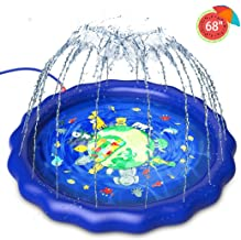 "Sprinkler for Kids,Splash Pad Play Mat for Toddlers ,Kiddie Baby Wading Pool for Learning,Inflatable Summer Outdoor Water Toys, Backyard Fountain Play Mat for 1 -12 Year Old Girls Boys (68""Large)"