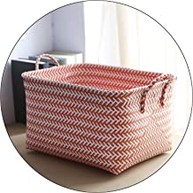 MAHFEI Natural Paper Rattan Storage Basket Box Hand Weaving Storage Basket For Clothes Fine Texture With Handle Easy To Mo...
