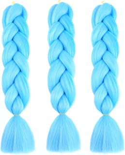 Bai You Mei Jumbo Braiding Hair Kanekalon Hair 3pcs/lot 24inch Synthetic Hair Extensions Crochet Braiding Hair(Sky blue)