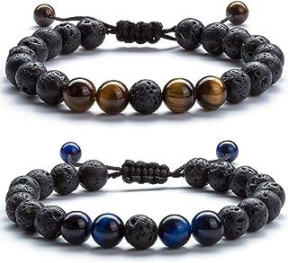 Hamoery Men Women 8mm Lava Rock Aromatherapy Anxiety Essential Oil Diffuser Bracelet Braided Rope Natural Stone Yoga Beads Bracelet Bangle-21017