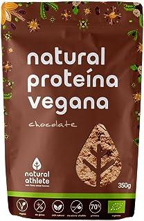 Proteína Vegana BIO Chocolate Natural Athlete. 72% Proteína. 100% Natural Sin Azúcar Añadido. Sin Gluten. Sin Lactosa -350g