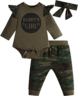 Daddy's Baby Boys Girls 3PCS Outfit Set Romper Camouflage Pants with Hat