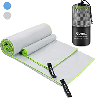Gonex 2-Pack Microfiber Travel Towel Set, Cooling Fast Quick Dry Sweat Towel for Body, Men's Women's Compact Super Absorbent Towel for Beach Camping Gym Sports Swimming Yoga