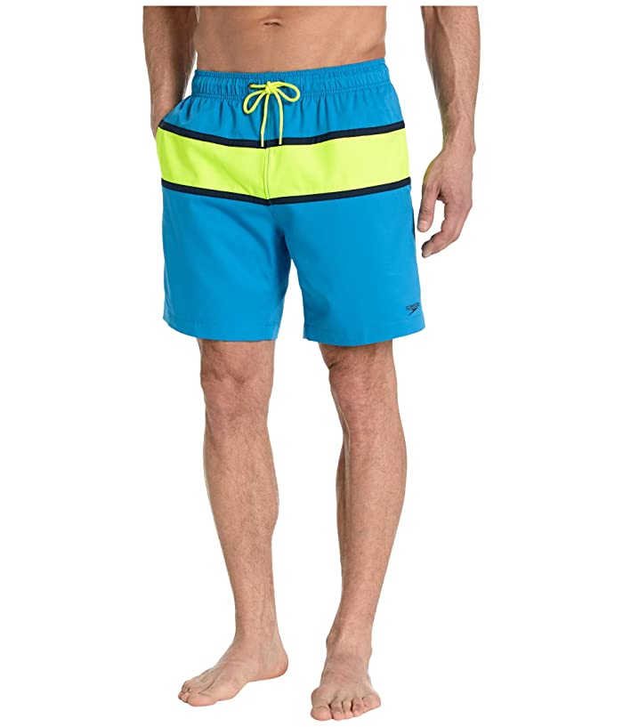 Vintage Men's Swimsuits – 1930s to 1970s History Speedo Color-Block Redondo Volley 18 Blue Lemonade Mens Swimwear $34.99 AT vintagedancer.com