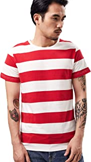Wide Striped T Shirt for Men Sailor Tee Red White Black Navy Stripes Top Basic