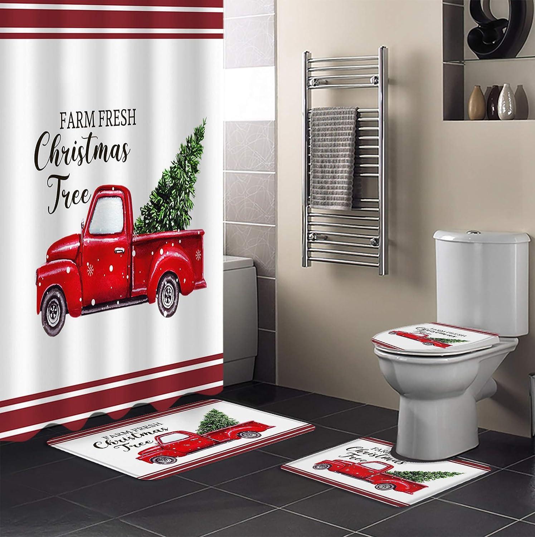 4 Piece Albuquerque Mall Shower Curtain Sets Farm Christmas High material Fresh Red wi Tree Car