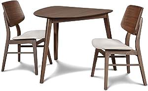 New Classic Furniture Mid-Century Modern Oscar Corner Table 3-Piece Dining Set, Walnut