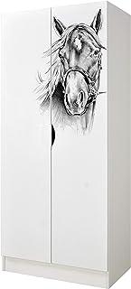 Leomark Armoire à Deux Portes - Roma - avec Portes coulissantes fonctionnelles, penderie pour vêtements, Style scandinave,...