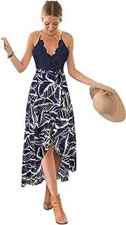 Women's Deep V Neck Sleeveless Summer Asymmetrical Floral Maxi Dress