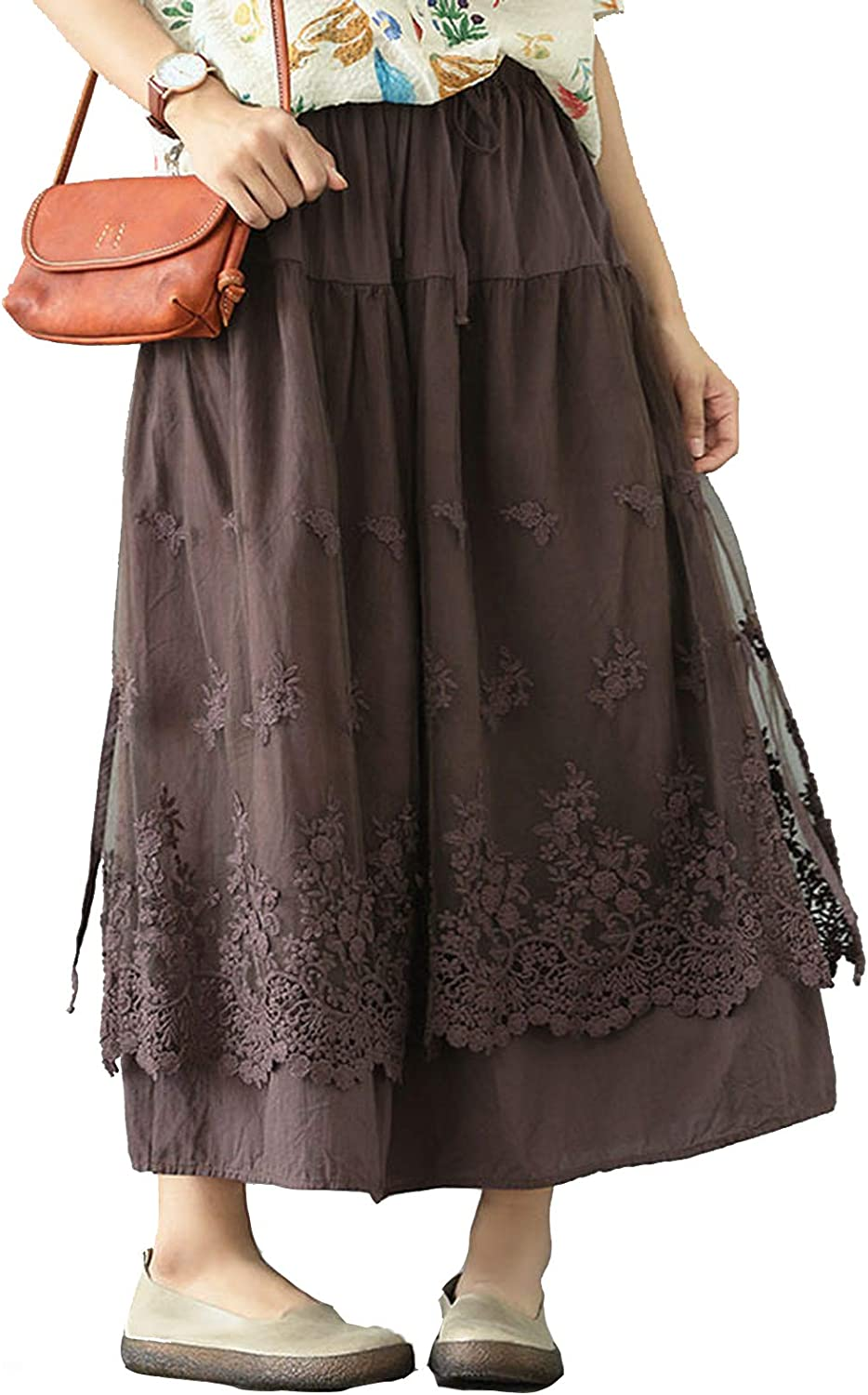 Bluecandy Eugen Yarn Skirt French Long Skirt Ankle Retro Double Mesh Yarn Loose Embroidery A-Line Skirt