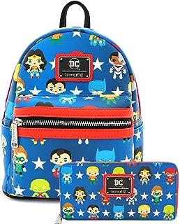 Chibi Print Faux Leather Mini Backpack Wallet Set (Blue)