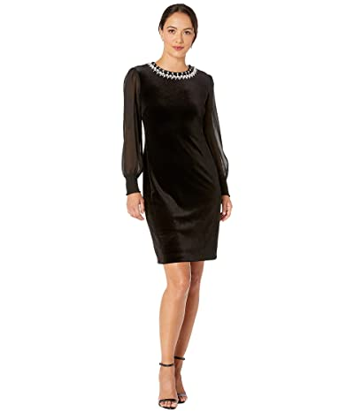 Tahari by ASL Petite Illusion Sleeve Velvet Cocktail Dress with Pearl Necklace Embellishment Detail (Black) Women