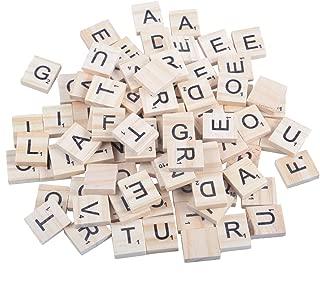 Wooden Scrabble Tiles, Game Letters Board Game Pieces Replacement Set Bulk Tiles A-Z Capital Letters for Spelling, Pendants, Crafts, DIY Wood Gift Decoration (300PCS)