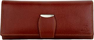 K London Stylish Brown Long Women Purse Wallet Clutch with Loop Closure & 2 Zipped Pockets-AZ01_Leather_BRN