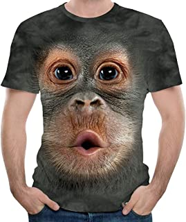 Summer Men's Monkey 3D Print Top T-Shirt Fashion Short Sleeve O-Neck Casual Blouse T-Shirt