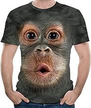 Unisex Big Face Baby Orangutan 3D Graphic Printing Short Sleeve T-Shirt Humorous Funny Tees Tops for Men's