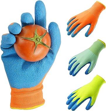 GLOSAV 3 Pairs Kids Gardening Gloves for Yard Work, Children Latex Garden Gloves for Age 2-12 Toddler, Girls, Boys (Size 2 fo