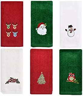 ZiegLad Christmas Hand Towel for Bathroom Kitchen, 100% Cotton, Set of 6, 12x18 inches, Decorative Dish Towels Set, Embroi...
