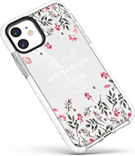 Case for iPhone 12 Mini,Floral Flowers Leaves Wildflowers Bible Verses Inspirational Christian Quotes Isaiah 58:12 Girls W...