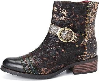 gracosy Ankelstövlar för kvinnor vinter platt chelsea-stövlar damspänne casual läderstövlar öppen tå komfort retro stövlar...