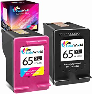 ColoWorld Remanufactured Ink Cartridge Replacement for HP 65XL 65 XL to Use with Envy 5055 5052 5012 5010 5020 5030 DeskJe...