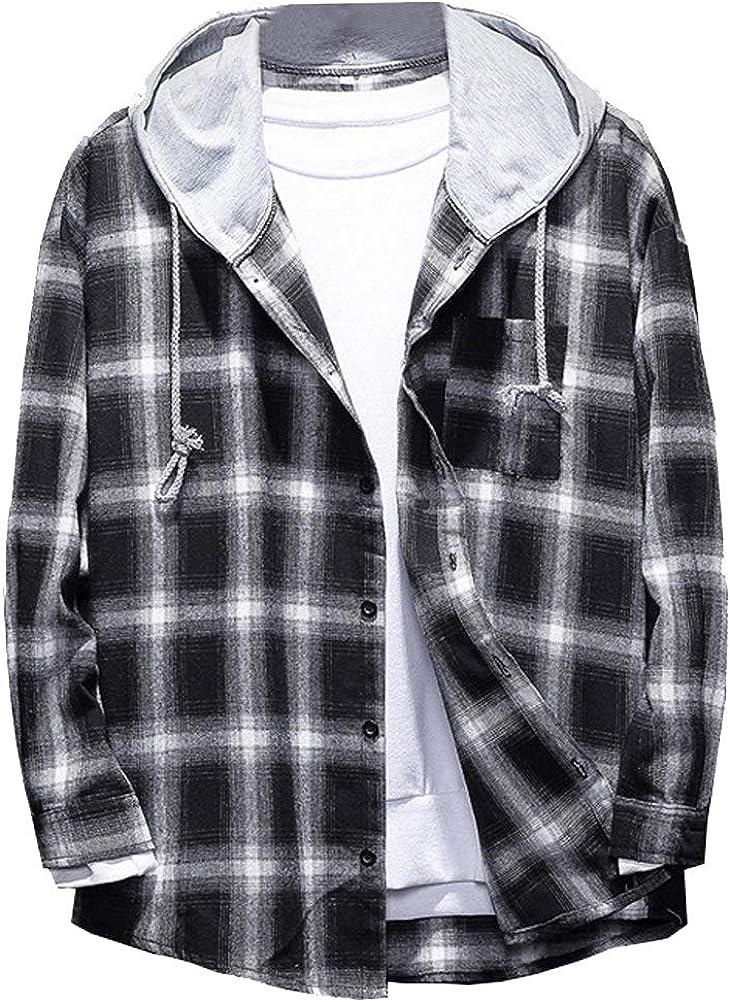 Mallimoda Hombre Camisa Franela Compruebe Manga Larga Blusa con Capucha
