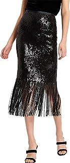 SZIVYSHI Highwaist Fringe Hem Shiny Metallic Sequin Sequined Midi Bodycon Skirt Black