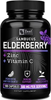 Elderberry Capsules + Vitamin C with Zinc (100 Count   500mg) 3-in-1 Immune Booster for Adults Elderberry Pills