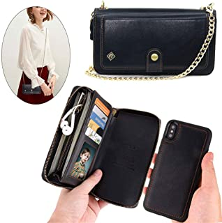 iPhone X Wallet Case,iPhone Xs Wallet Case - JAZ Crossbody Chain Satchel Zipper Purse Detachable Magnetic 14 Card Slots Momey Pocket Clutch Leather Wallet Case for Apple iPhone X/XS Black