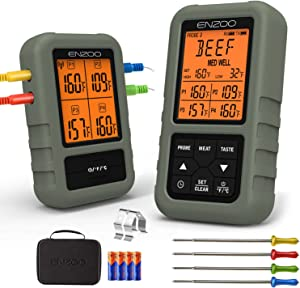 ENZOO Digital Meat Thermometer with 4 Probes and Carring Case, Instant Read Food Thermometer, 500FT Kitchen Thermometer Wireless, Grill Thermometer for Cooking Smoker BBQ