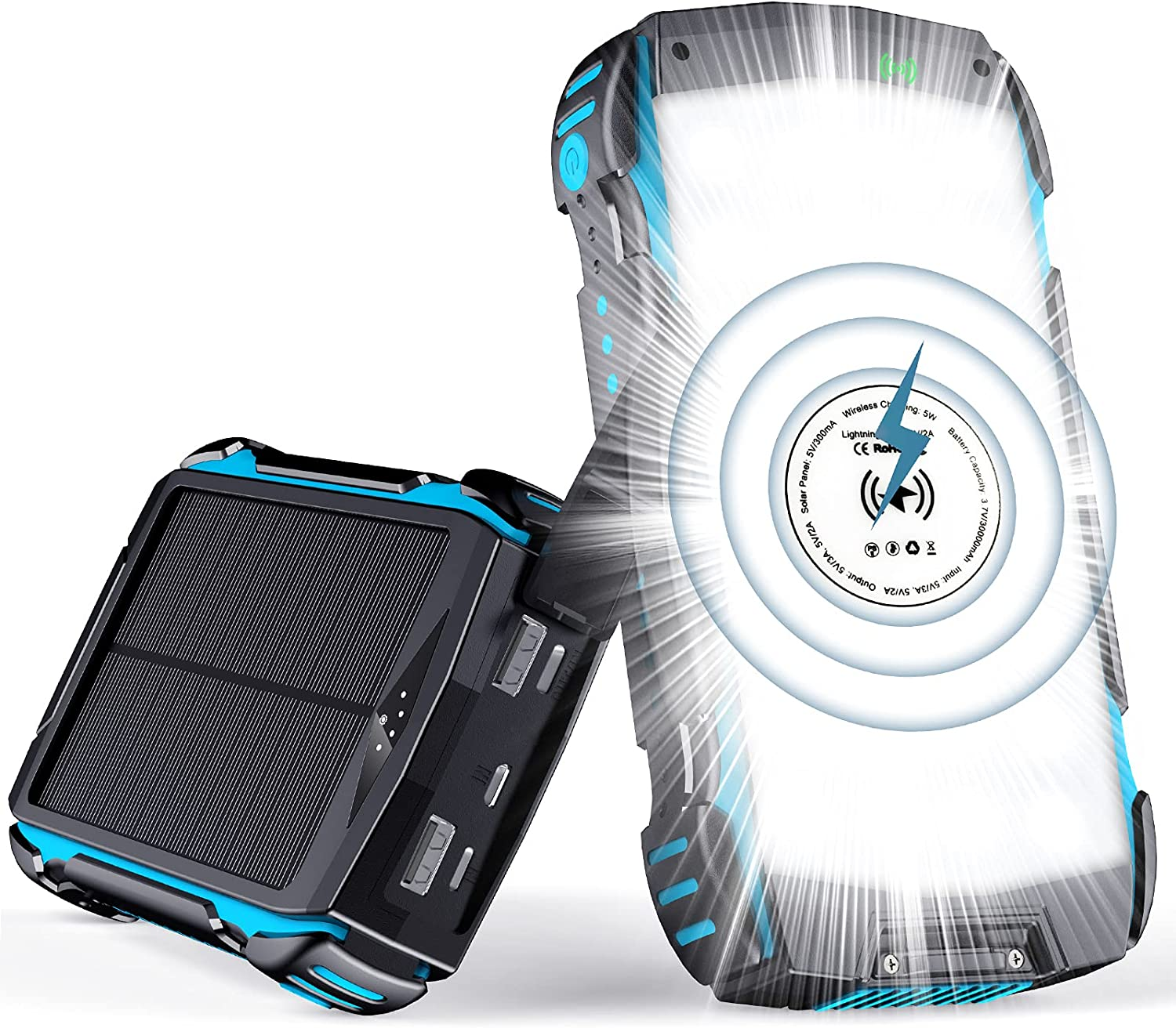 Gortheous  Solar Charger 30000mAh, Power Bank with Wireless Fast Black