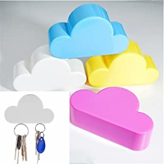 Cafolo~ 4pcs Creative Novelty Cute Cloud Shape Magnetic Magnets Key Holder (Blue White Yellow Pink) Wall Keychains Hanger Home office Decoration