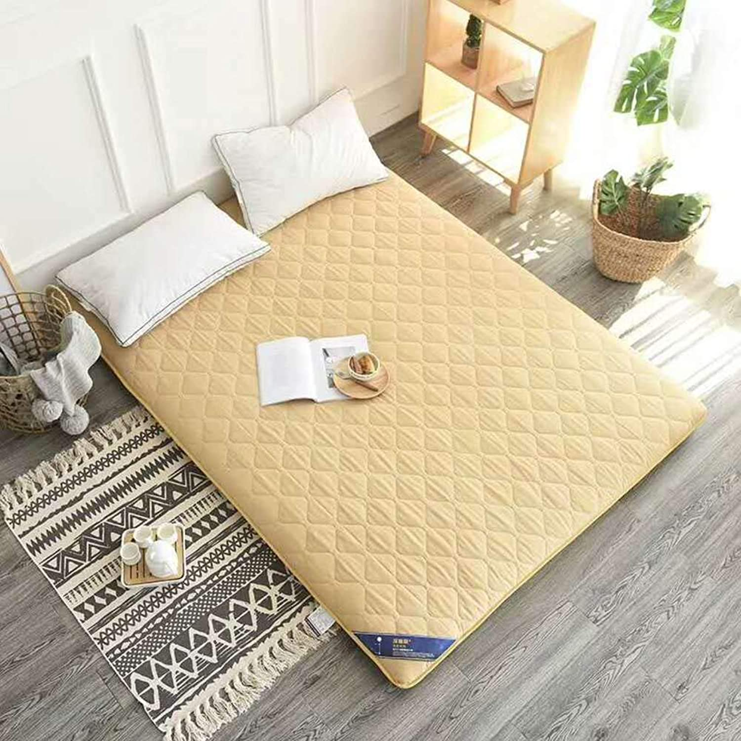 7cm Gone Mattress,Pure color Thickening Mattress Floor Bed Mat Sanding Stereo Mattress Multi-Size Bed Mat-Yellow 90x200cm(35x79inch)