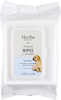 Martha Stewart Puppy Wipes in Grapefruit   Natural Hypoallergenic Dog Grooming Wipes, 100 Count