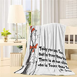 Super Soft Fleece Flanne Throw Blanket 50x60inch Cozy Microfiber Bed Blanket for Sofa Couch Chair All Season Use,Dr. Seuss Classic Cat in The Hat